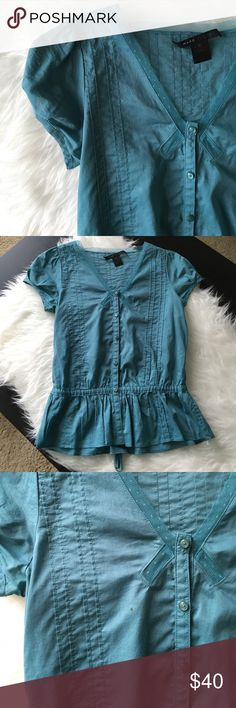 Marc Jacobs Blouse Good condition. The tag is coming off and there is a small food stain in front. Please see the last picture for more detail. It might come off at the cleaners. No holes or any other stains. 100% cotton. Marc Jacobs Tops Blouses