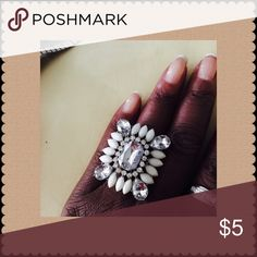 White Beaded & Rhinestone adjustable ring A beautiful ring that looks good with an all white suit or dress! Jewelry Rings