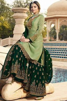 Buy Pale Green Georgette Embroidered Sharara Suit - Salwar Kameez for Women from Andaaz Fashion at Best Prices. Pakistani Fashion Party Wear, Pakistani Formal Dresses, Indian Gowns Dresses, Pakistani Dress Design, Indian Fashion, Pakistani Gharara, Pakistani Bridal, Sharara Designs, Kurti Designs Party Wear