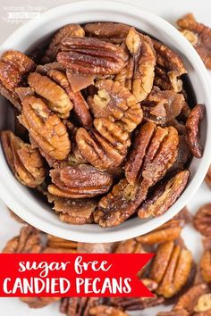 These Sugar Free Candied Pecans are the perfect keto friendly snack for those of… – Low Carb Pecan Recipes Sugar Free Treats, Sugar Free Candy, Sugar Free Desserts, Sugar Free Recipes, Low Carb Recipes, Cooking Recipes, Healthy Recipes, Diabetic Recipes, Diabetic Foods