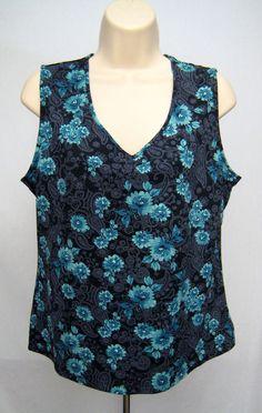Croft & Barrow Tank Top Women Size L Blue Floral Paisley V Neck Sleeveless #CroftBarrow #TankCami #Casual