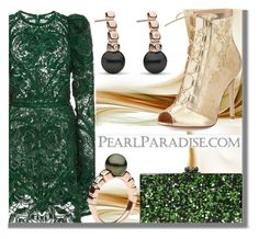"""""""Holidays with PEARL PARADISE"""" by fattie-zara ❤ liked on Polyvore featuring Elie Saab, Hera, Gianvito Rossi, Edie Parker, pearljewelry and pearlparadise"""