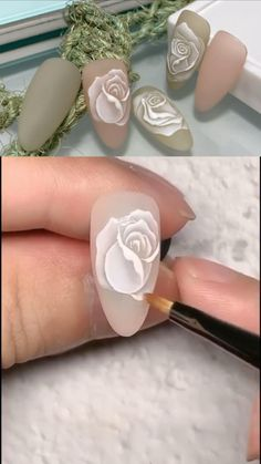 Nail Art Designs Videos, Nail Design Video, Nail Art Videos, Nail Designs, Nail Art Flowers Designs, Rose Nail Design, Rose Nail Art, Floral Nail Art, Rose Nails