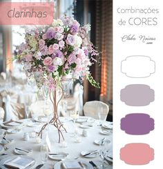 Cores Claras para Decoração de Casamento - Tons de Lilás e rosa