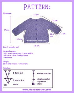 Simple baby crochet cardigan or sweater. This page also offers written instructions