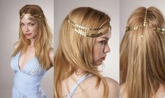 House of Harlow 1960 Brass Seven-Strand Coin Head Piece