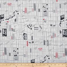 The Big Apple City Street Grey/Red from @fabricdotcom  Designed by Greta Lynn for Kanvas in association with Benartex, this cotton print fabric is perfect for quilting, apparel and home décor accents. Colors include black, grey, red and white.
