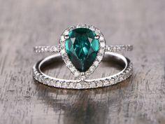 Emerald Engagement Ring Set Pear Cut Emerald Ring by kilarjewelry