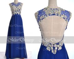 Royal Blue Prom Dresses, 2014 Prom Gown, Straps with Open Back Lace and Chiffon Long Royal Blue Prom Dresses, Royal Blue Formal Gown on Etsy, $169.00