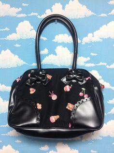 Country of Sweets Boston Bag in Black from Angelic Pretty - Lolita Desu