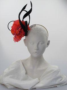 Philip Treacy. Orange black flower headdress. Any season. Free size. - 79aae476409d