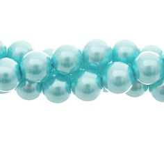 10mm Glass Pearl Round Bead Strand, Ice Blue