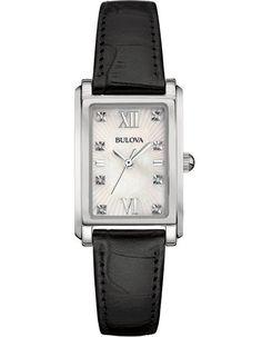 Bulova Ladies 8 Diamond Watch - White MOP - Black Leather Strap