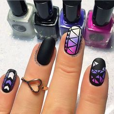 Geometric Ombre Nails Inspired by Ane Li by @ohmygoshpolish; see the full Nail It! gallery at http://www.nailitmag.com/nail-art-of-the-day/geometric-ombre-nails