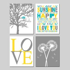 Yellow Gray Turquoise Nursery Art  Set of Four 8x10 by Tessyla