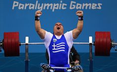 Hench: Pavlos Mamalos of Greece competes in the Men's -90 kg Powerlifting  Picture: GETTY IMAGES