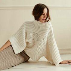 Knitting And Crochet Pull Crochet, Mode Crochet, Knit Crochet, Knitwear Fashion, Knit Fashion, Womens Fashion, Mode Inspiration, Pulls, Cashmere Sweaters