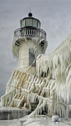 frozen lighthouse, michigan