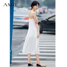 Amii Elegant Women Dress 2017 Summer Solid Spaghetti Strap V-Neck Mid-Calf Dresses