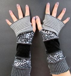 Fingerless Gloves Arm Warmers Gypsy Gauntlets Upcycled Clothing Recycled Cotton Sweaters Black Gray