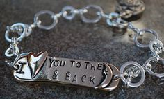 I Love you to the Moon & Back Pewter Bracelet [P-1123] : Inspirational Jewelry, Motivational Message Jewelry - Affirmations