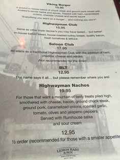 Menu options, Highwayman Saloon Bar & Grill, Union Bay, BC