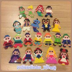 Disney characters perler beads by missdear_shop Hama Beads Design, Diy Perler Beads, Perler Bead Art, Pearler Bead Patterns, Perler Patterns, Bead Crafts, Diy And Crafts, Perler Bead Disney, Peler Beads