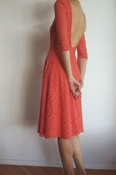 Cotton lace tea length dress with open back by NelliUzun on Etsy https://www.etsy.com/listing/202222429/cotton-lace-tea-length-dress-with-open