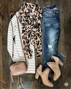 Perfect for spring, fall, or even winter with a nice coat over top! Explore pattern mixing with stripes and animal print! Plus #treatyoself with a sweet little Gucci cross body! #shopthelook #SpringStyle #BirthdayParty #WeekendLook #DateNight #GirlsNightOut #TravelOutfit #OOTD #leopard #stripes