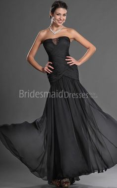 Sexy Black Chiffon Trumpet/Mermaid Strapless Floor-length With Draping Black Bridesmaid Dresses(UKBD03-511) - BridesmaidDressesBuy.co.uk