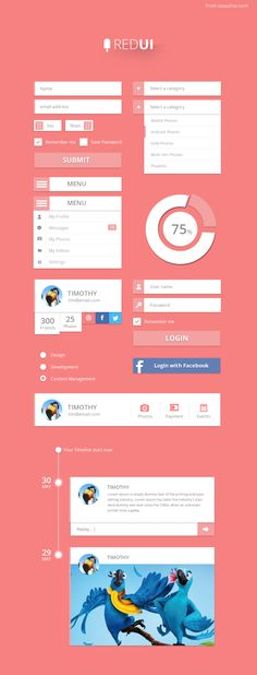 RED UI – User Interface Design Kit PSD – Freebie No: 115