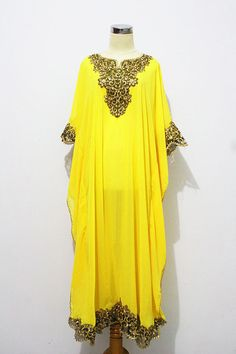 Gold Peanut Embroidery Caftan Dubai Abaya Maxi Dress - Yellow Chiffon For Women