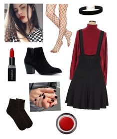 """""""red sweater, black overskirt, & fishnets"""" by kittykats12 on Polyvore featuring Gipsy, Karen Scott, Eloquii, mp Denmark, Smashbox, John Lewis and plus size clothing"""