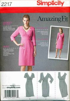 ©2011 SIMPLICITY PATTERN 2217 MISSES 6-14 AMAZING FIT CUSTOM WRAP BODICE DRESS
