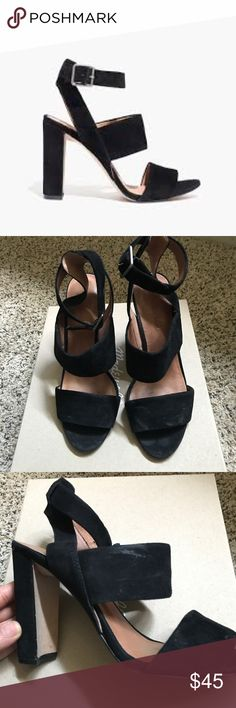 Madewell Octavia Heel in Black These are sold as pictured. They were only worn about 2-3 times but show wear in the suede. I'm sure it can easily be cleaned. But since they were only wear about 3 times, the soles and heel are in pretty good condition. Madewell Shoes Heels