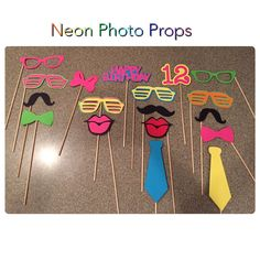 Neon Photo Booth Props, brightlight booth boothprops, props, throw back party, birthday prop Neon Birthday, Happy Birthday Signs, 13th Birthday Parties, 16th Birthday, Skate Party, 80s Party, Glow Party, Party Time, Photos Booth