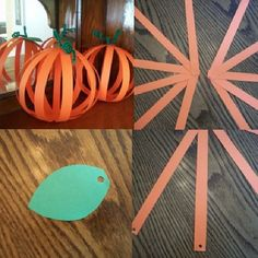 Simple Paper Cutting and Following Directions Craft for Fall. Cut 11 strips lengthwise from orange construction paper. Fan out and staple one set of ends together. Cut and punch a leaf. Punch hole in leaf and unattached ends of strips. Gather them all together feeding a green pipe cleaner through punches twisting to hold them all in place. Curl pipe cleaner around your finger or pen to make it look like a vine. From our Fall Pinterest boards - Original source: Craftjr.com #pediOT…
