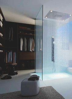 Closet-rain shower duo.