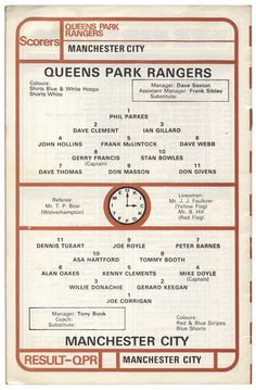 QPR v. Man.City 1976 team sheet John Hollins, Queens Park Rangers Fc, Image Foot, British Football, Assistant Manager, Football Program, Manchester City, Blue And White, Game