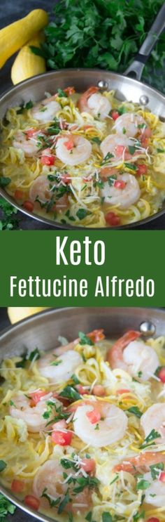 Lighten up your favorite meal with this keto fettucine alfredo dish made with delicious zucchini noodles for dinner tonight! Pasta Dinner Recipes, Easy Pasta Recipes, Seafood Recipes, Diet Recipes, Cooking Recipes, Healthy Recipes, Healthy Foods, Chicken Fettucine, Shrimp Fettuccine Alfredo