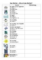 Die Schüler ordnen den Bildern die entsprechenden Sätze zu. Sie beschreiben das Wetter von gestern, heute und morgen. Sie machen eine kurze Sprechübung (Was ist dein Lieblingswetter usw.) Anschließend gibt es ein Kreuzworträtsel zur Festigung. Viel Spaß! - DaF Arbeitsblätter