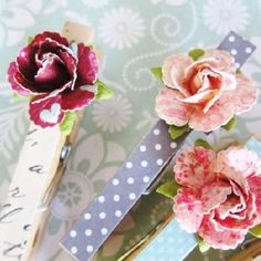 Make a lovely office accessory with clothespins, cardstock and paper flowers