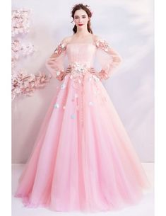 Pink Tulle Puff Sleeve Appliques Quinceanera Dresses, Shop plus-sized prom dresses for curvy figures and plus-size party dresses. Ball gowns for prom in plus sizes and short plus-sized prom dresses for Poofy Prom Dresses, Prom Dresses With Sleeves, Ball Gown Dresses, Dresses Uk, Pretty Dresses, Formal Dresses, Wedding Dresses, Dress Prom, Dress Long