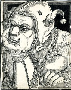 companion piece to next -- woodcut print ny Hans Hanberg dated 1568 via BM website. Note the trompe-l'oeil fly on the fool's cap -- more of which anon. The two medals worn by the fool read HANS HANBERG VAN COELLEN (giving the artist's name and place of residence, Cologne), and DER SEIDENSICKLER WAPEN ANNA [sic] 1568 [Arms of the Silk-Embroiderers Anno 1568] -- Hanberg's newly discoivered album [SEE 3 IMAGES RIGHT] shows him to have been also a silk-embroiderer