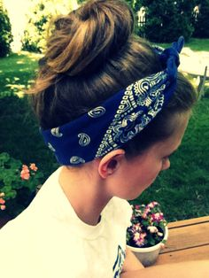 Bun and bandana hair style