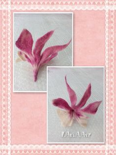 Exotic Pink White Orchid flower brooch pin & hair clip of felted wool, handmade and dyed in pink shades, OOAK by LanAArt on Etsy
