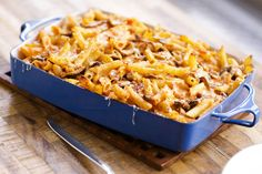 Baked Pasta with Mushrooms & Mozzarella. Discover our recipe rated by 15 members. The Chew Recipes, Pasta Recipes, Great Recipes, Cooking Recipes, Favorite Recipes, Healthy Recipes, Savoury Recipes, Yummy Recipes, Yummy Food