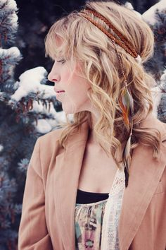 Feather headband: double braided headband with feathers falling into your hair