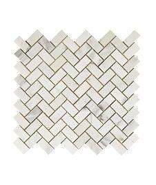A carrera marble small herringbone tile. For splashback or behind cooker? Misty Fjord Herringbone Honed�