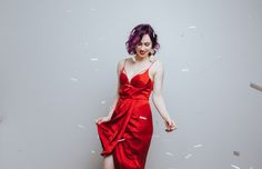 shopbop, zimmermann, purple hair, valentines day, silky dress, party dress